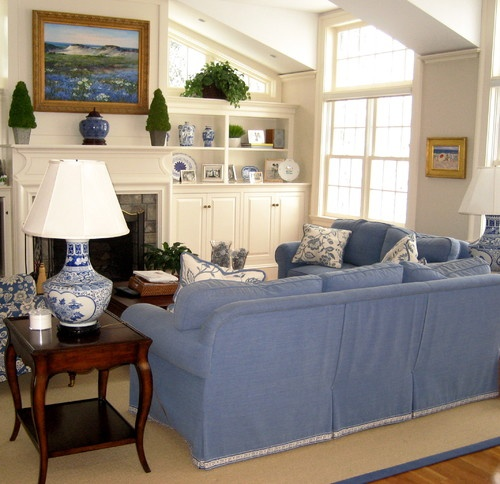 Blue and White Family Room traditional family room