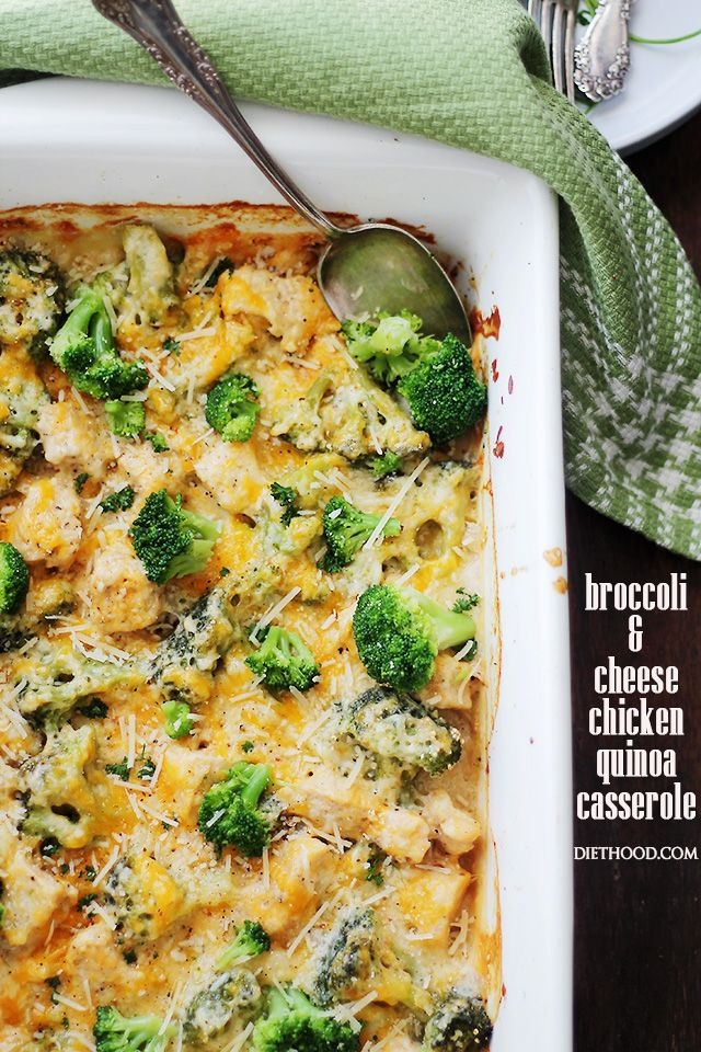 Broccoli and Cheese Chicken Quinoa Casserole | www.diethood.com |  Light and creamy casserole filled with broccoli, chicken, quinoa and cheese!