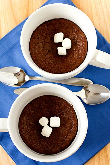 Baked Hot Chocolate; A quick and easy dessert that's super-impressive – a cross between a brownie, pudding and souffle.
