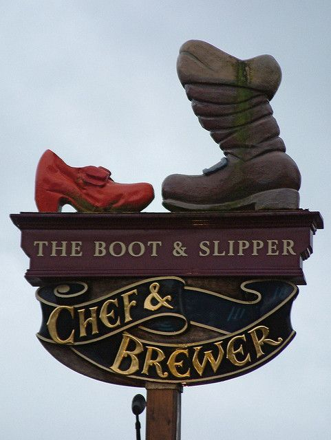 Signs, The Boot and Slippers Chef and Brewery