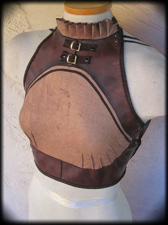 Steam Punk Halter Top with Elastic Back, Collar, and Buckles