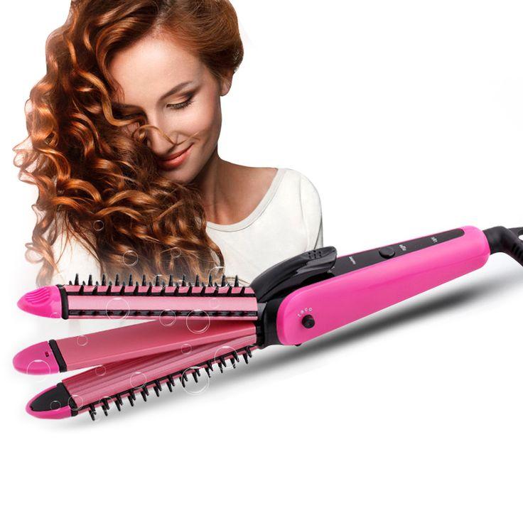 3-in-1 eléctrico enderezadora del pelo profesional plancha de pelo de cerámica que endereza el hierro corrugado y curling de pelo