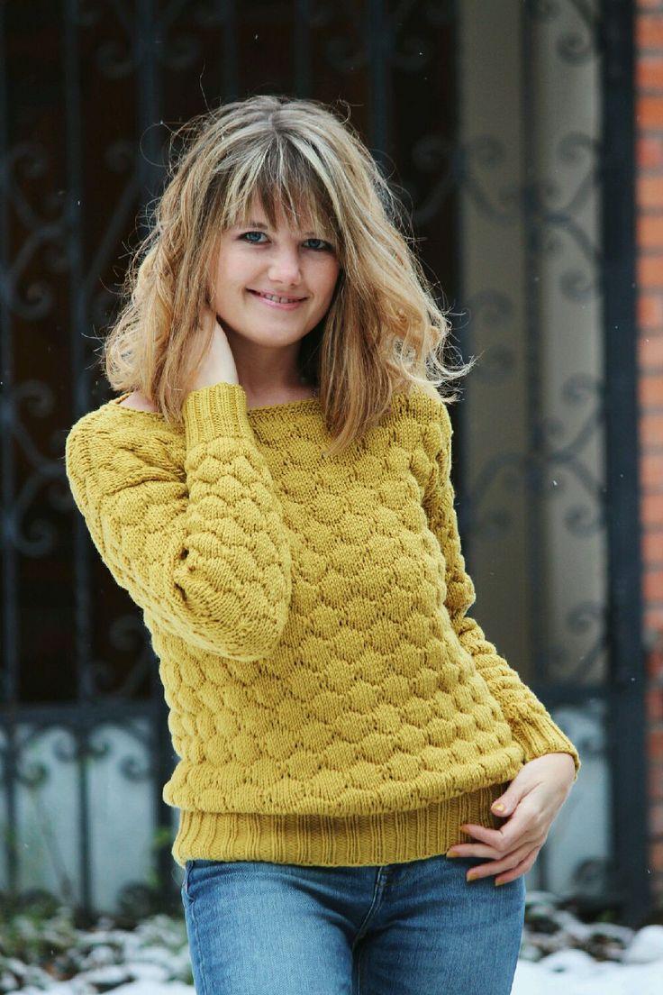 Купить Горчичный пуловер - горчичный, вязаный джемпер, вязаные свитера, свитер спицами, горчичный свитер