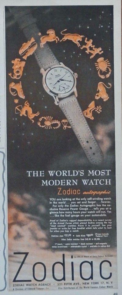 Zodiac Watches  50 s print ad  Color Illustration  world s most modern watch  original  magazine art