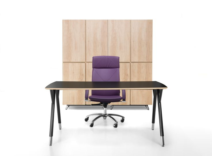 Snabb desk with an ergonomic, pleasantly rounded countertop and an unique metal frame. The backdrop for its light form is created by furniture with rhytmic tectonics and a minimalist style. #desk #biurko #plywood #sklejka