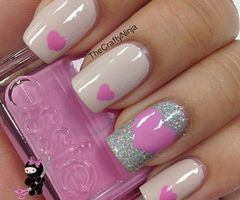 Light Pink Nails; One Silver Nail and Red or Dark Pink Hearts!!!!!!!!!!!!! For Valentines Day