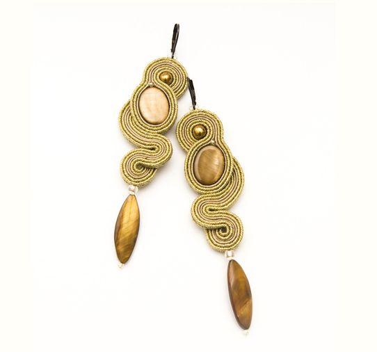 Kolczyki soutache - żmijki złote.  Dostępne w Madame Allure!