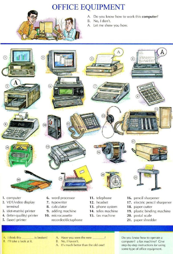83 Office Equipment Picture Dictionary English Study Explanations Free Exercises