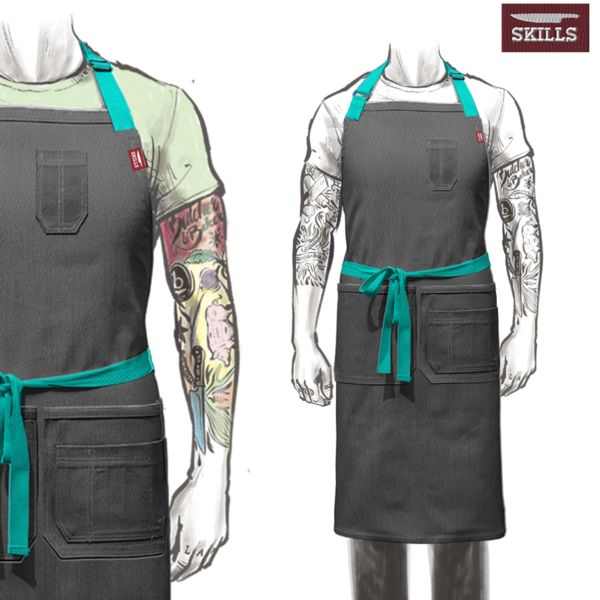 My STYLE - Denim Color (Buckskin), Keep all default Pockets, Pocket Color (Normandy military green), Straps (Chocolate), Backing CROSSBACK. The full-length apron measures 33 1/2 inches from the chest hem to the bottom hem, and the width is 36 1/2