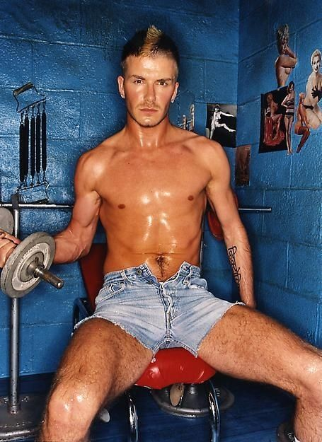 Lifting weights in denim cutoffs. | 17 Things David Beckham Can Now Focus On