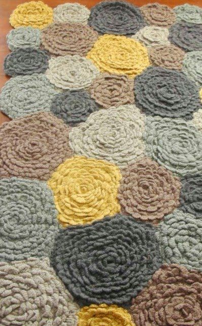 Crochet petal rug