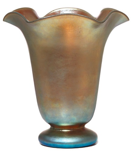Steuben Vase Footed Flaring Form With Ruffled Rim In Gold Aurene Glass A Nice ArtMuseumSteuben