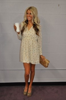 Cream Polkadot Dress