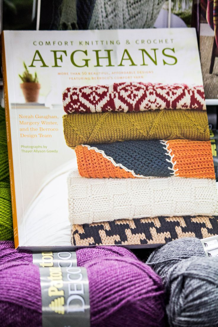 Comfort Knitting and Crochet Afghans available in store.