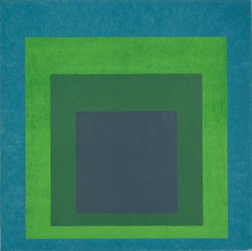 Josef Albers, Homage to the Square: Soft Spoken, 1969. Oil on Masonite, 48 x 48…