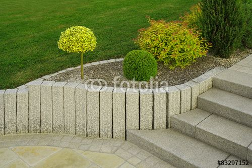 moderner vorgarten als steingarten mit treppe aus granit | ścieżki,