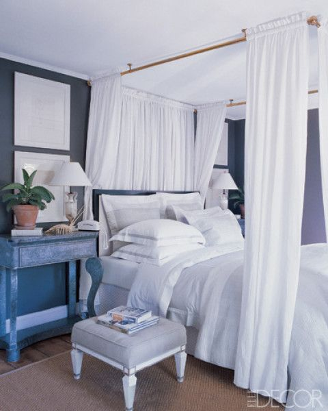 master bedroom - hamptons: Apartment Decor, Posters Beds, Hanging Curtains, Master Bedrooms, Canopies Beds, Dreamy Bedrooms, Apartment Ideas, Beaches Bedrooms, Charcoal Wall