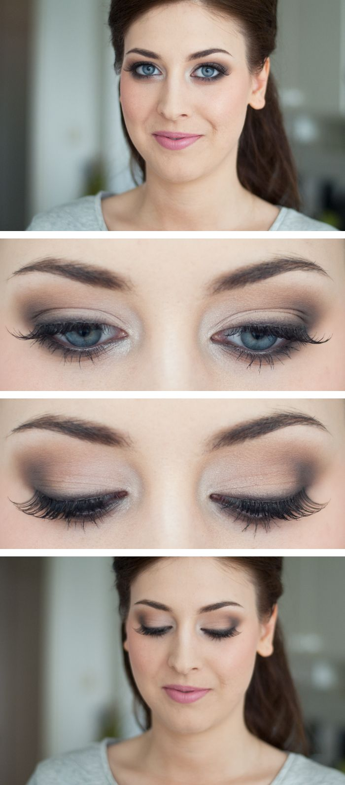 Pretty eye makeup to accentuate the eyes. This look uses dark eye shadow but isn't intimidating or too intense