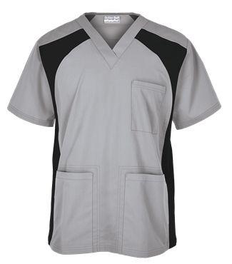 UA Butter-Soft Men's V-Neck Top with Knit Side Inserts Style # STN709C #uniformadvantage #uascrubs #menfashion #silver