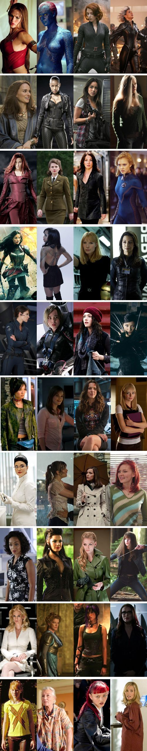 Marvel Women- Elektra, Raven, Natasha, Ororo, Jane, Callisto, Skye, Rogue, Jean, Peggy, Kayla, Sue, Sif, Angel, Pepper, Melinda, Maria, Kitty, Darcy, Yuriko, Jubilee, Jemma, Maya, Gwen, Kavita, Betty, Moira, Mary Jane, Raina, Mary, Viper, Abby, Emma, Frigga, Elizabeth, Victoria, Theresa, May, Yukio Christine: