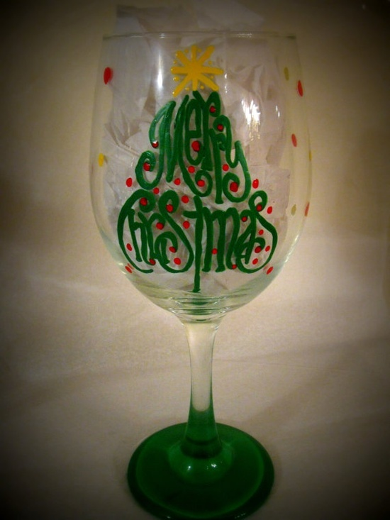 painted wine glasses ideas | Wine glass ideas / Merry Christmas 20 oz Hand Painted Wine Glass by ...