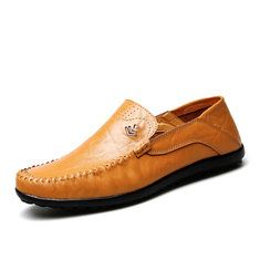 Men Woven Pattern Stitching Slip On Leather Loafers Flat Casual Shoes - NewChic Mobile