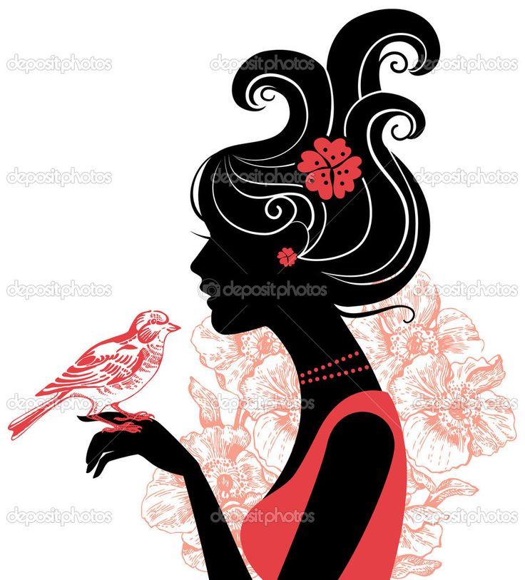 kuş ile kız siluet - Stok İllüstrasyon: 7895875