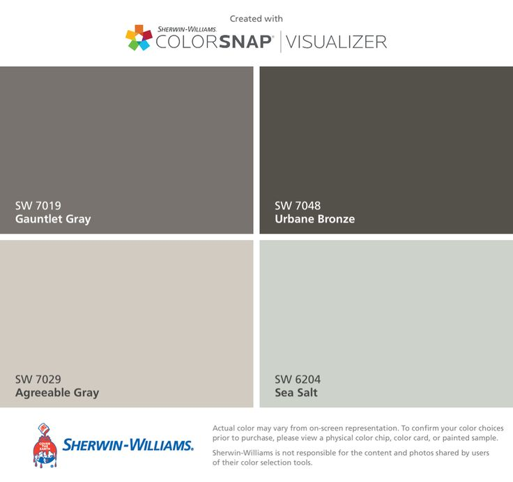 I found these colors with ColorSnap® Visualizer for iPhone by Sherwin-Williams: Gauntlet Gray (SW 7019), Agreeable Gray (SW 7029), Urbane Bronze (SW 7048), Sea Salt (SW 6204).