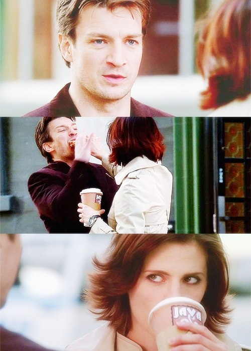 """Kate Beckett and Rick Castle. """"Do I detect a hint of jealousy?"""" """"In your dreams, Castle!"""" """"No, in my dreams you're never jealous, you just join in!"""" Love them! ♥️"""