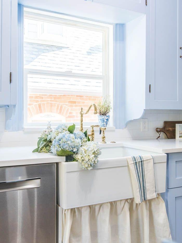 How To Install A Farmhouse Sink Farmhouse Sink Installation Farmhouse Sink Light Blue Kitchens