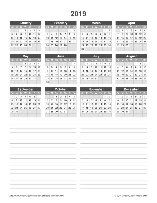 Download a free 2019 Yearly Calendar with Notes from Vertex42.com