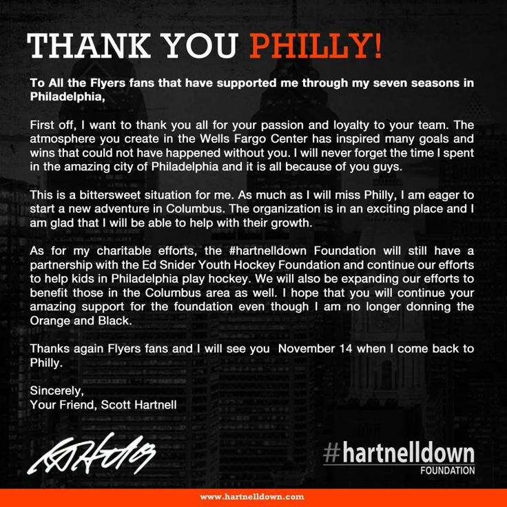 Scott Hartnell is a class act! He will always be one of my favorite hockey players! Thanks for NOTHING Flyers!