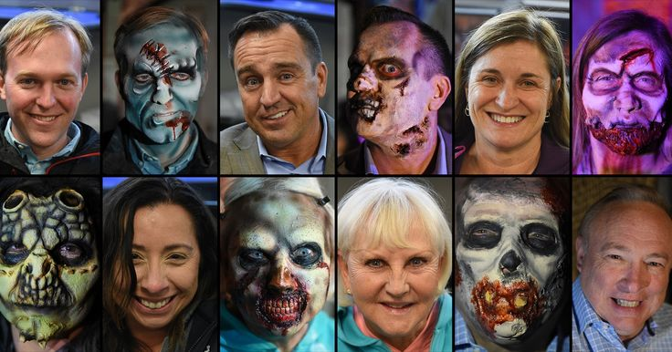 Local politicians got into the Halloween spirit and helped the Utah Food Bank on Thursday while falling prey to the zombie apocalypse at the Fear Factory haunted house attraction in Salt Lake City.