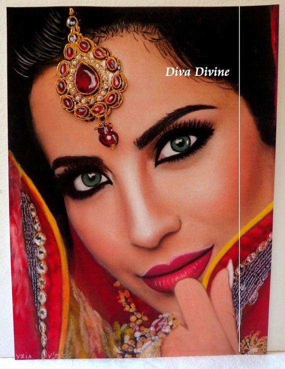 Peinture Pastel Sec pour Tableau Bohème Ethnique Indien ° YZIA ° - PEINT A LA MAIN - PASTEL SEC