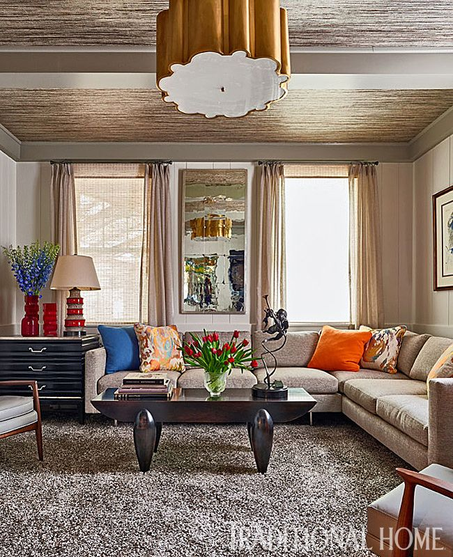 Neutral Texture—notice The Grasscloth Ceiling And Shaggy