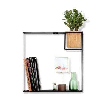 Cubist Large Wall Shelf Black Umbra Floating Shelves Wood