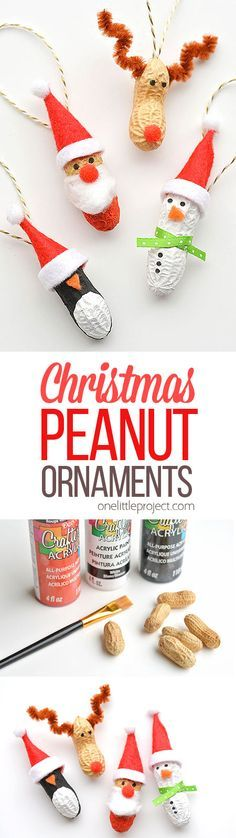 These peanut Christmas ornaments are SO ADORABLE and they're really easy to make! They're such a fun and simple Christmas craft to make with the kids!