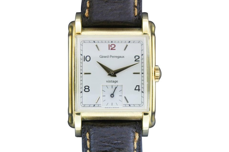 Girard Perregaux, 18k gold rectangular manual wristwatch signed Girard Perragux, Vintage '94, No. I-OJ 63, ref. 2550. Made in 1994. Silvered dial with Arabic and applied baton numerals, gilt dauphine hands, subsidiary seconds, the rectangular case with domed crystal, fancy lugs, back secured by four screws, with original 18K gold buckle. Accompanied by original box and certificate of guarantee