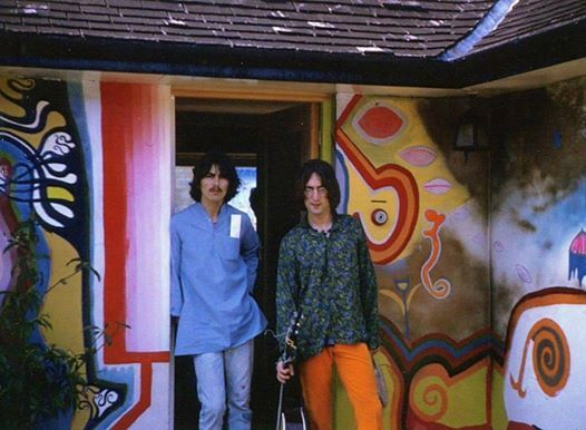 "George Harrison and John Lennon at George's house ""Kinfauns"". 1968. Probably working on demos for the white album."