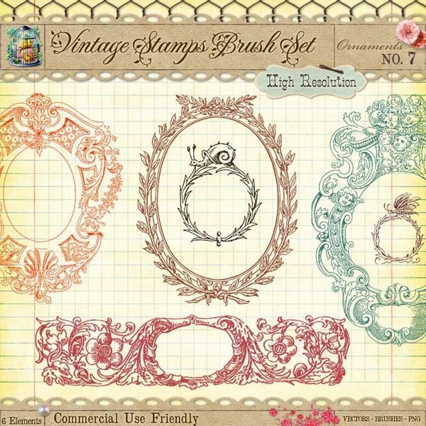 Free Vintage Decorative Frame Borders and Photoshop Custom Shapes - CU4CU - StarSunflower Studio