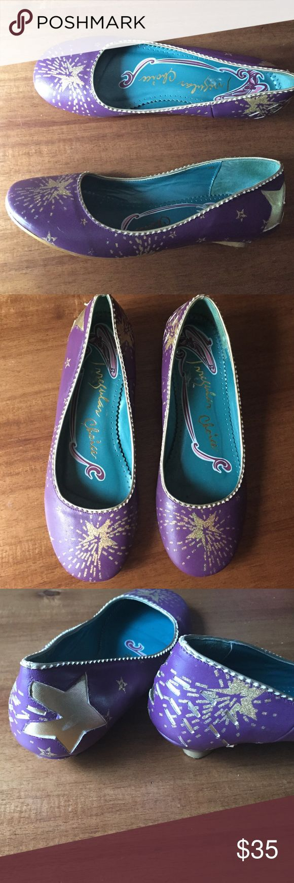 Irregular choice shootingstar flats, purple & gold These are a Euro size 39 ( they barley fit me and I am an 8.5-9 ) I bought them for myself but they would be more comfortable on a size 8 foot.  Really cute EUC! Irregular Choice is a European brand that makes limited edition shoes, so if you see a pair you like snatch them up because you will prob not find them again! Irregular Choice Shoes Flats & Loafers