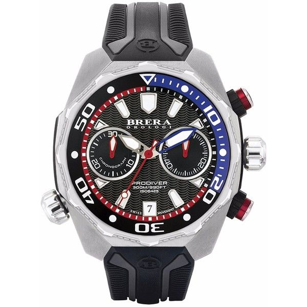 Brera Orologi - Brera Orologi Pro Diver Chronograph Watch Stainless... (1112575 IQD) ❤ liked on Polyvore featuring men's fashion, men's jewelry, men's watches, mens chronograph watches, mens stainless steel watches, blue dial mens watches, mens leather strap watches and mens black face watches