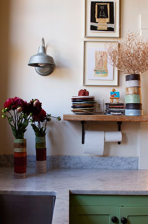 Reclaimed wood shelves in a san francisco kitchen in a Salvaged wood san francisco