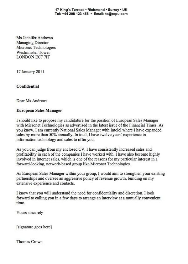 Cover Letter Examples Sample Cover Letter For Sales