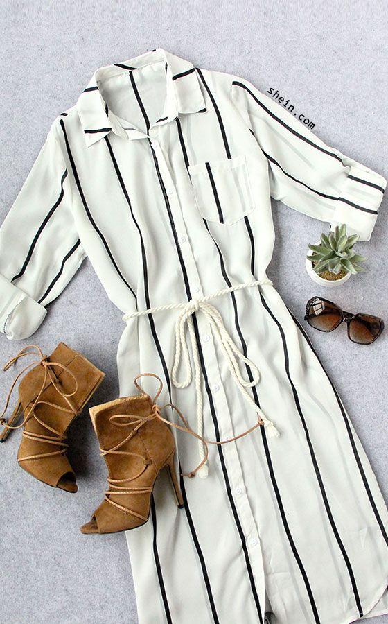 Black White Vertical Stripe Pocket Split Shirt Dress