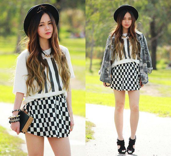 Choies Top, Choies Check Skirt, Choies Bag, Romwe Jacket