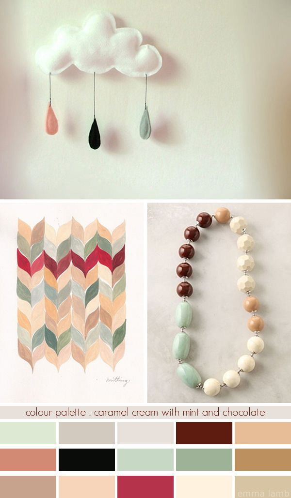 emma lamb: colour palette : caramel cream with mint and chocolate
