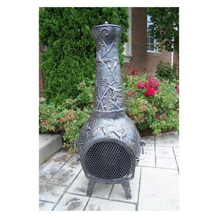 Oakland Living 53 in. Antique Pewter Leaf Chiminea - 8024-AP