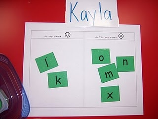 Name Work Station: sort letters into two groups, those in their name and those that are not: Little Boxes, Kindergarten Teacher, Literacy Work Stations, Kelly Kindergarten, Words Work, Letters Sorting, Kindergarten Center, Literacy Stations, Names Letters