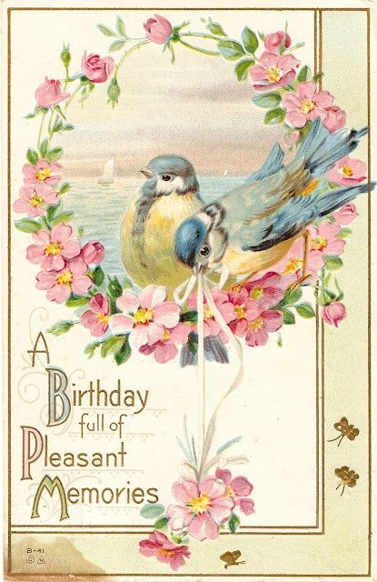 Such a charmingly lovely vintage birthday card. #vintage #birthday #card #bluebirds